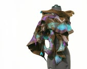 RESERVED Felted scarf ruffle wool wrap Purple Brown