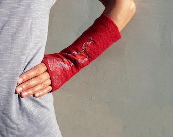 Wool felted fingerless gloves Red