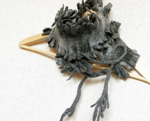 SALE  was 72 Wool Felted scarf scarflette with fringe in Gray color
