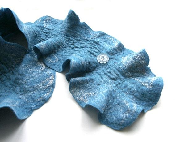 SALE was 45 Nuno Felted ruffled wool scarf scarflette collar neckwarmer  Turquoise