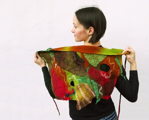 Wool nuno felted scarf triangle  Red Olive Green