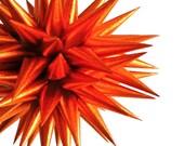 Handmade Ornament Star Urchin Metallic Orange Paper Harvest Decoration - 4 inch - Copper Luster