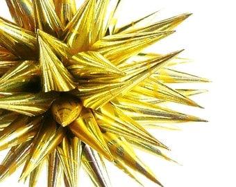 Gold Paper Decoration Star Urchin 3D Christmas Ornament Spiky Modern Polish Porcupine Ball Sunshine - Golden Sunrise, 4 inch