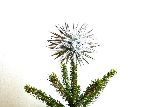 Star Urchin Tree Topper Silver Paper Christmas Decoration Folk Art Decor - Size Small (6-inch) - Sterling Silver