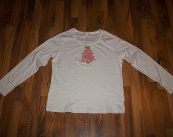 Ladies Christmas Tree top made with Lilly Pulitzer Santa lion fabric