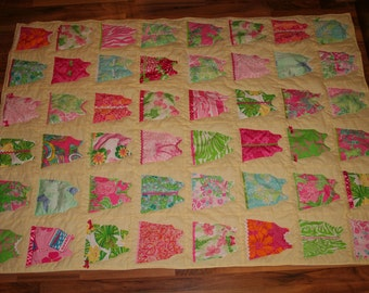 Throw size Shift Dress Quilt made with Lilly Pulitzer fabric