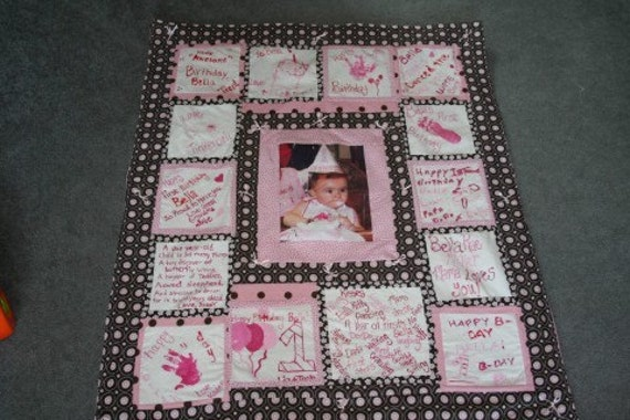 Custom Birthday Photo and Autograph Quilt