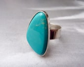 SUPER SALE ---- Vintage Jay King Size 10 Sterling Silver & Turquoise Chunk Ring