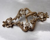 Antique Brass Arching Fern Deco Rhinestone Buckle