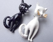 SALE --- Vintage Pair of Black and White Kitty Brooches