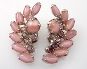 Vintage Deco Wild Crescent Shell Glass & Pink Rhinestone Earrings