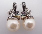 Vintage Sterling & Faux Pearl Earrings with Pastel Glass Gemstones