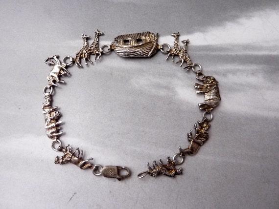 SALE --- Vintage Noah's Ark Menagerie Sterling Silver Link Bracelet
