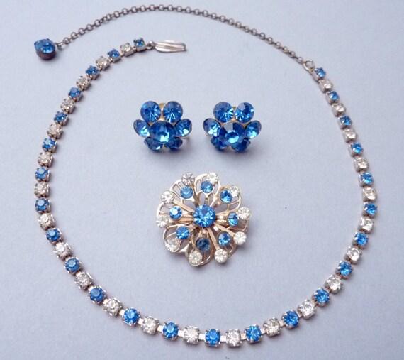 RESERVED for Mafalda Sailorette  ---  Vintage Assembled Blue and Clear Rhinestone Parure