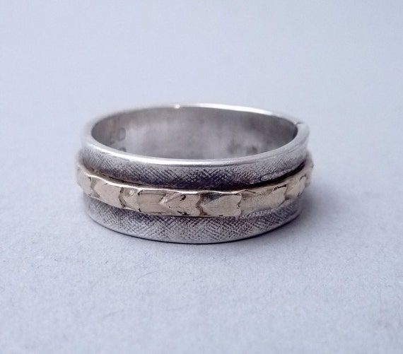RESERVED for donnatellamurray --- Size 8 1/2 Vintage Joe Esposito Gold Filled and Sterling Silver Band