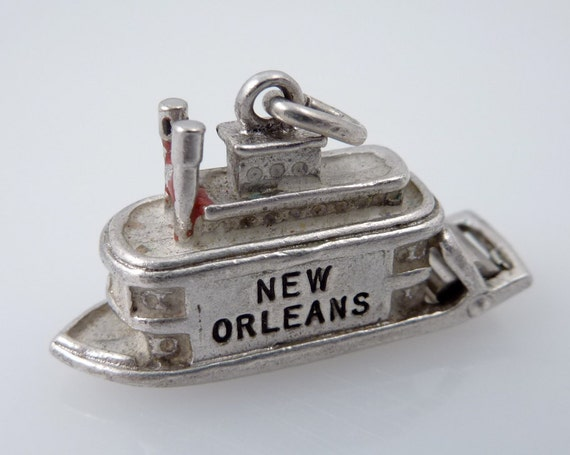 SALE --- Antique Sterling New Orleans Steamboat Charm with Moving Paddle Wheel
