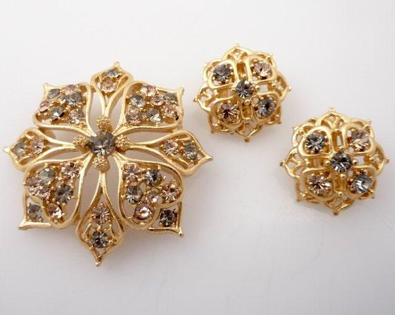 SALE ---- Vintage Lisner Golden Smoky & Citrine Rhinestone Earring and Brooch Set