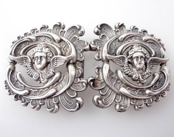 SALE ----- Antique Art Nouveau Sterling Cherub Buckle
