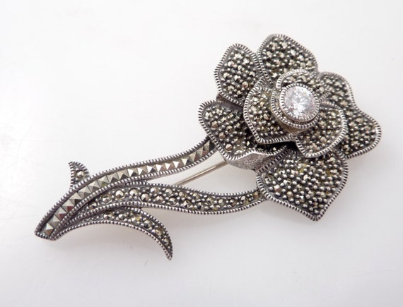 RESERVED for CleosJewelry  --- Huge Vintage Sterling and Marcasite Flower Dazzler Brooch