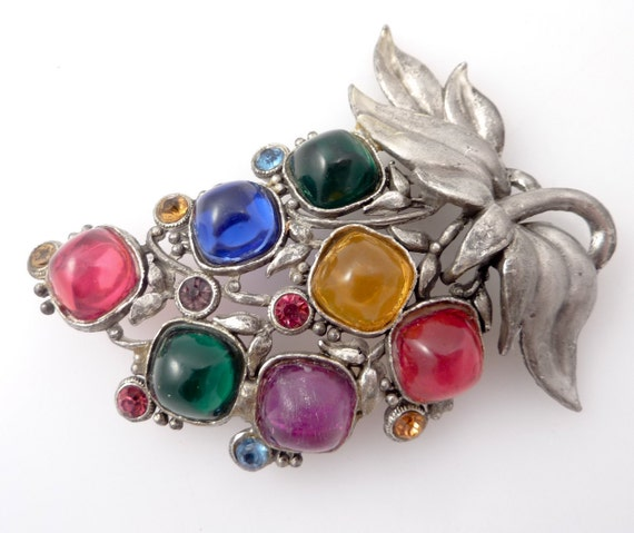 Huge Antique Silvertone Brooch by Sterling Button Co. NY with Rainbow Glass Fruit for Crafting