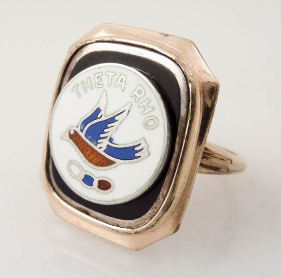 SUPER SALE  ---- Size 5.25 Theta Rho 10K and Sterling Vintage Chapter Ring