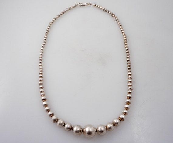 SUPER SALE ---- Vintage Graduated Italian Sterling Bead Necklace