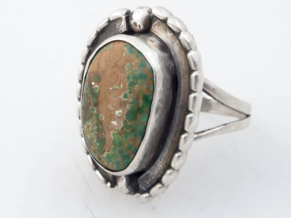 Size 8.5 Vintage Raw Green Turquoise and Sterling Ring