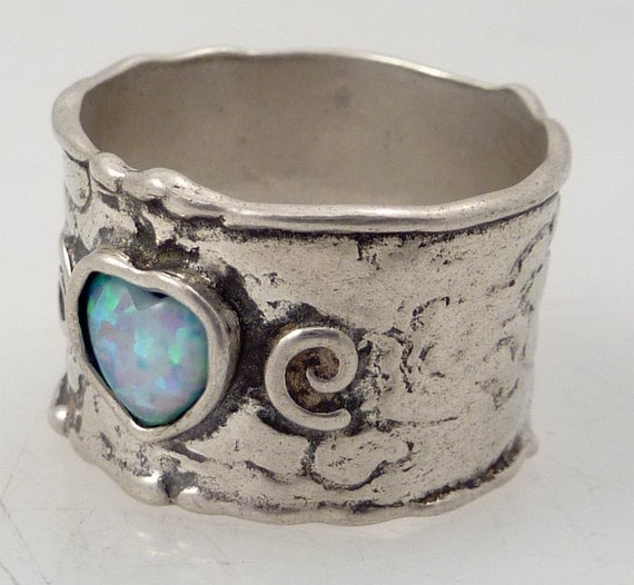 RESERVED for pennykuntzman - Size 8 Vintage Faux Opal Artist Signed Sterling Ring