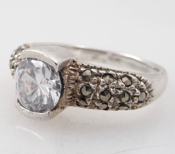 SALE ----- Size 7.75 Vintage Cubic Zirconia and Marcasite Pave Sterling Ring