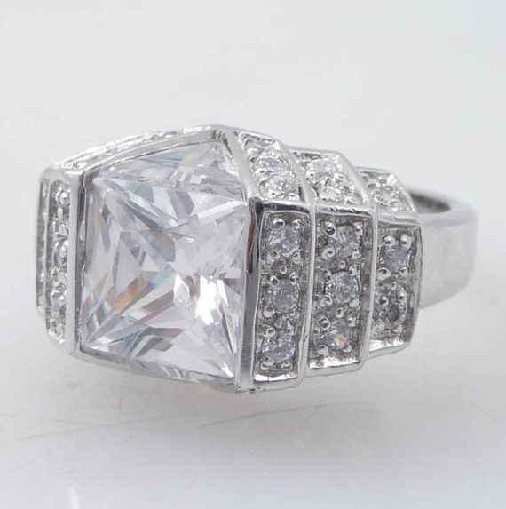 SALE ----- Size 7.25 Vintage Gangsta Cubic Zirconia Sterling Ring