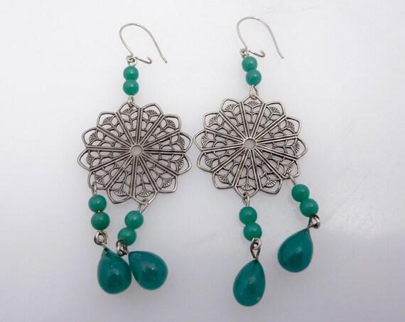 SALE ----- Vintage Silvertone Asian Burst Earrings with Jade Glass Beads