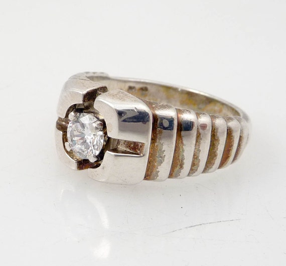RESERVED for frankcolman =========================================== ---- Size 10 Vintage Tron Sterling and Cubic Zirconia Ring