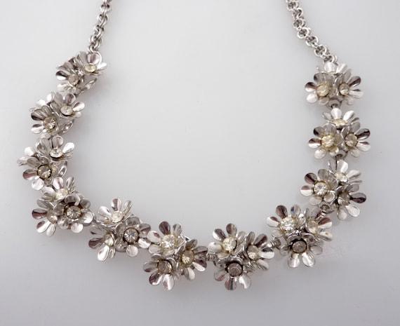 RESERVED for JuneBugArt - Vintage Rhinestone Triple Flower Bursts Necklace