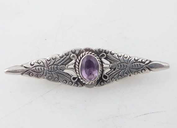 Vintage Sterling Flanking Butterfly and Amethyst Brooch