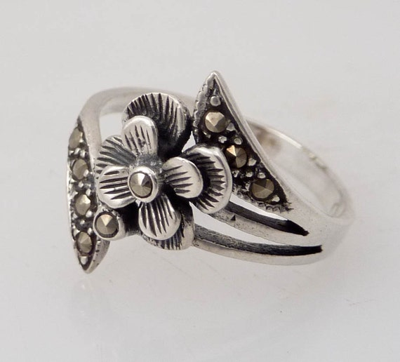 Size 7 Blossoming Sterling Flower and Marcasite Vintage Ring