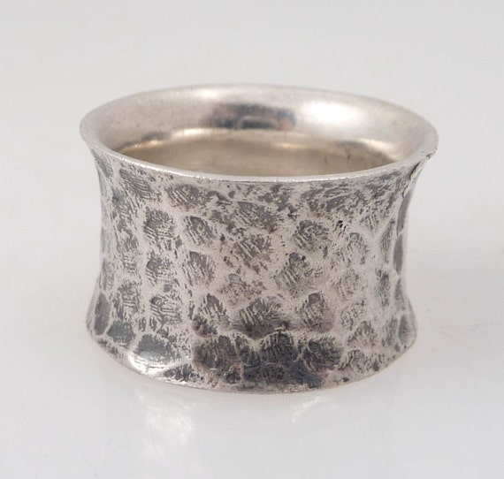 Size 8.75 Vintage Hammered and Oxidized Sterling Cuff Ring