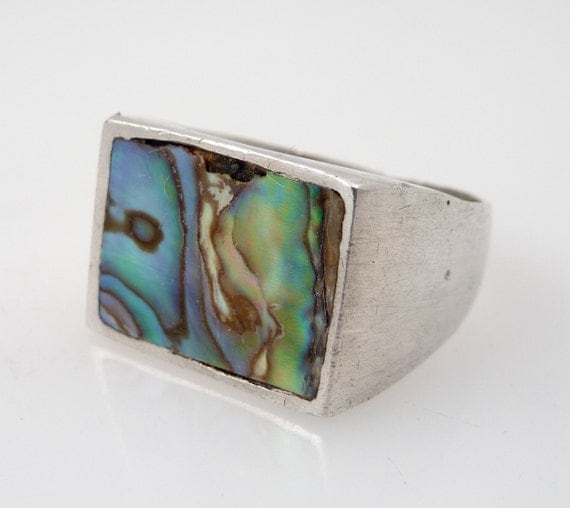 SALE --- Size 10.25 Vintage Mexican Abalone and Sterling Ring