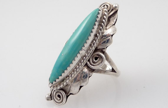 RESERVED for Katherine - Size 6 Vintage Native American Artist Signed Cyan Turquoise Ring
