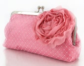 Personalized Gift, Bridesmaid Gift, Pink Bridal Clutch with Organza Rose brooch 8-inch PASSION