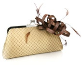Fascinator Passion - Gold Clutch with Brown and Gold Fascinator - 8 inches