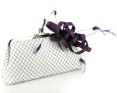 Fascinator Passion - White Clutch with Purple Horsehair Ribbon Feather Fascinator - 8 inches