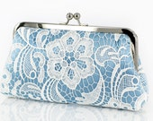 White Lace Bridal Clutch in Baby Blue 8-inch L'HERITAGE - ANGEEW