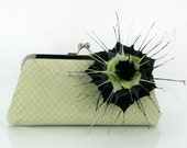 Bridesmaids Clutch with Flower made with light green, Black & Gray Feathers 8-inch