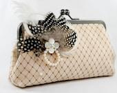 Feather Bridal Clutch Bag in Champagne 8-inch (Le nouveau printemps)