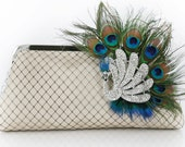 Champagne bridal bridesmaid Clutch with Peacock Feather Rhinestone Brooch 8-inch PEACOCK PASSION