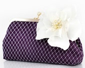 Purple Eggplant Bridal Bridesmaids Clutch with Silk and Organza Flower Brooch in Ivory - 8 inches PASSION