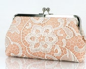 Bridal Bridesmaids White Lace Peach Clutch - 8-inch L'HERITAGE