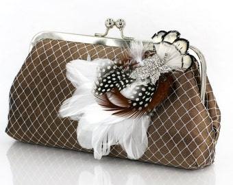 Chocolate Brown Bridesmaids or Bridal Clutch with Rhinestone Feather Brooch 8-inch PASSION