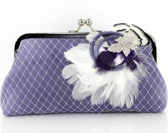 Lilac Purple Bridesmaids or Bridal Clutch with Rhinestone Feather Brooch 8-inch PASSION