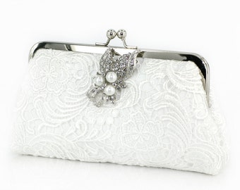White Lace Bridal Clutch with Pearl Brooch 8-inch L'HERITAGE II